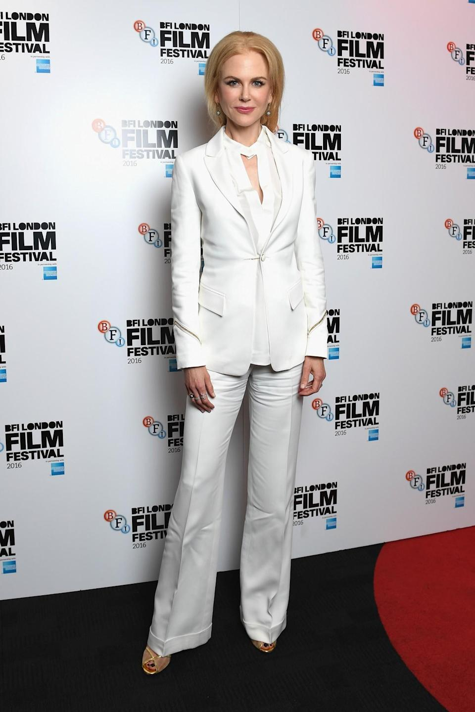 <p>The actress is another high-profile female who has worn a white trouser suit recently. [Photo: Getty] </p>