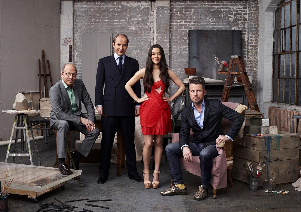 "Judges Jerry Saltz, Simon De Pury, Bill Bowers and Host China Chow in season 2 of ""Work of Art: The Next Great Artist."""