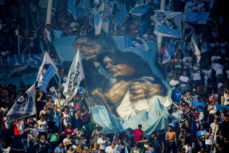 Supporters of Argentina's former president Cristina Kirchner attend the closure rally of her ultimately successful senatorial bid