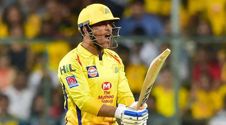 CSK batsman MS Dhoni reacts during the Indian Premier League 2019 (IPL T20) cricket match between Royal Challengers Bangalore (RCB) and Chennai Super Kings (CSK) at Chinnaswamy Stadium in Bengaluru