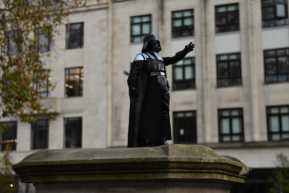 A Darth Vader figurine on the empty Edward Colston plinth in Bristol. (Photo by Jacob King/PA Images via Getty Images)