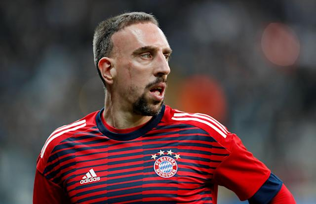 Soccer Football - Champions League Round of 16 Second Leg - Besiktas vs Bayern Munich - Vodafone Arena, Istanbul, Turkey - March 14, 2018 Bayern Munich's Franck Ribery during the warm up before the match REUTERS/Murad Sezer