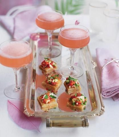 """<p>With the lighter evenings and warmer breeze, take the opportunity to sit outdoors with a glass of fizz. We particularly love these champagne rhubarb cocktails courtesy of <a href=""""http://www.deliciousmagazine.co.uk/recipes/champagne-rhubarb-cocktail/"""" rel=""""nofollow noopener"""" target=""""_blank"""" data-ylk=""""slk:Delicious Magazine"""" class=""""link rapid-noclick-resp""""><em>Delicious Magazine</em></a>. [Photo: Delicious Magazine]<br><br><strong>Ingredients:</strong><br>750g forced rhubarb (see tip), trimmed and cut into 5cm lengths<br>150g caster sugar<br>Grated zest and juice of 1 orange<br>150-200ml gin<br>Chilled sparkling wine </p>"""