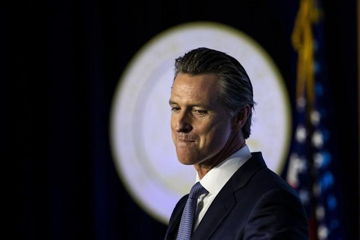 Gov. Gavin Newsom speaks after being sworn in as the 40th governor of California in front of the Capitol in Sacramento.