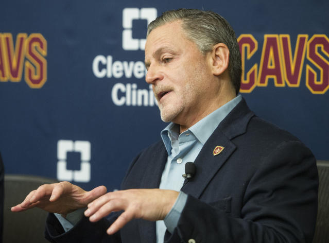 """Cavaliers owner Dan Gilbert discusses <a class=""""link rapid-noclick-resp"""" href=""""/nba/players/4840/"""" data-ylk=""""slk:Kyrie Irving"""">Kyrie Irving</a>'s trade request last month. (AP)"""