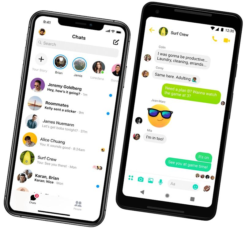 Facebook's Messenger lets up to 8 people to video chat at once, and features emojis, stickers, and more fun options to keep your chats lively. (Image: Facebook)
