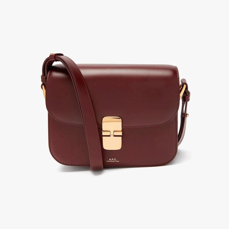 """$950, MATCHESFASHION.COM. <a href=""""https://www.matchesfashion.com/us/products/A-P-C--Grace-small-smooth-leather-cross-body-bag-1332265"""" rel=""""nofollow noopener"""" target=""""_blank"""" data-ylk=""""slk:Get it now!"""" class=""""link rapid-noclick-resp"""">Get it now!</a>"""