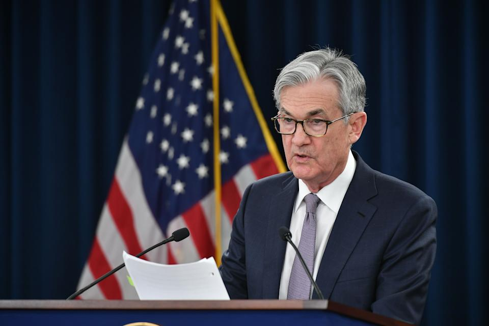 """Federal Reserve Board Chairman Jerome Powell speaks during a press conference following the January 28-29 Federal Open Market Committee meeting, in Washington, DC on January 29, 2020. - The US central bank held its policy interest rate steady on Wednesday, but again said it is monitoring """"global developments"""" to decide its next move. The Fed's policy-setting Federal Open Market Committee left the benchmark interest rate in the target range of 1.5 to 1.75 percent as expected, though it made no mention of the deadly virus outbreak in China which is feared to cause damage to the global economy. (Photo by MANDEL NGAN / AFP) (Photo by MANDEL NGAN/AFP via Getty Images)"""