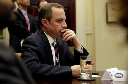 FILE PHOTO: White House Chief of Staff Reince Priebus listens as U.S. President Donald Trump meets with Republican Congressional leaders at the White House in Washington, U.S., June 6, 2017.   REUTERS/Joshua Roberts/File Photo