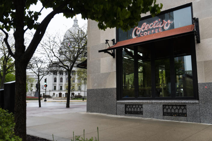 A shuttered coffee shop across from the Wisconsin State Capitol, in Madison, May 14, 2020. (Lauren Justice/The New York Times)