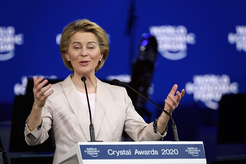 President of the European Commission Ursula von der Leyen delivers a speech at a ceremony marking the 50th anniversary of the World Economic Forum during the WEF's annual meeting in Davos, on January 20, 2020. (Photo by Fabrice COFFRINI / AFP) (Photo by FABRICE COFFRINI/AFP via Getty Images)