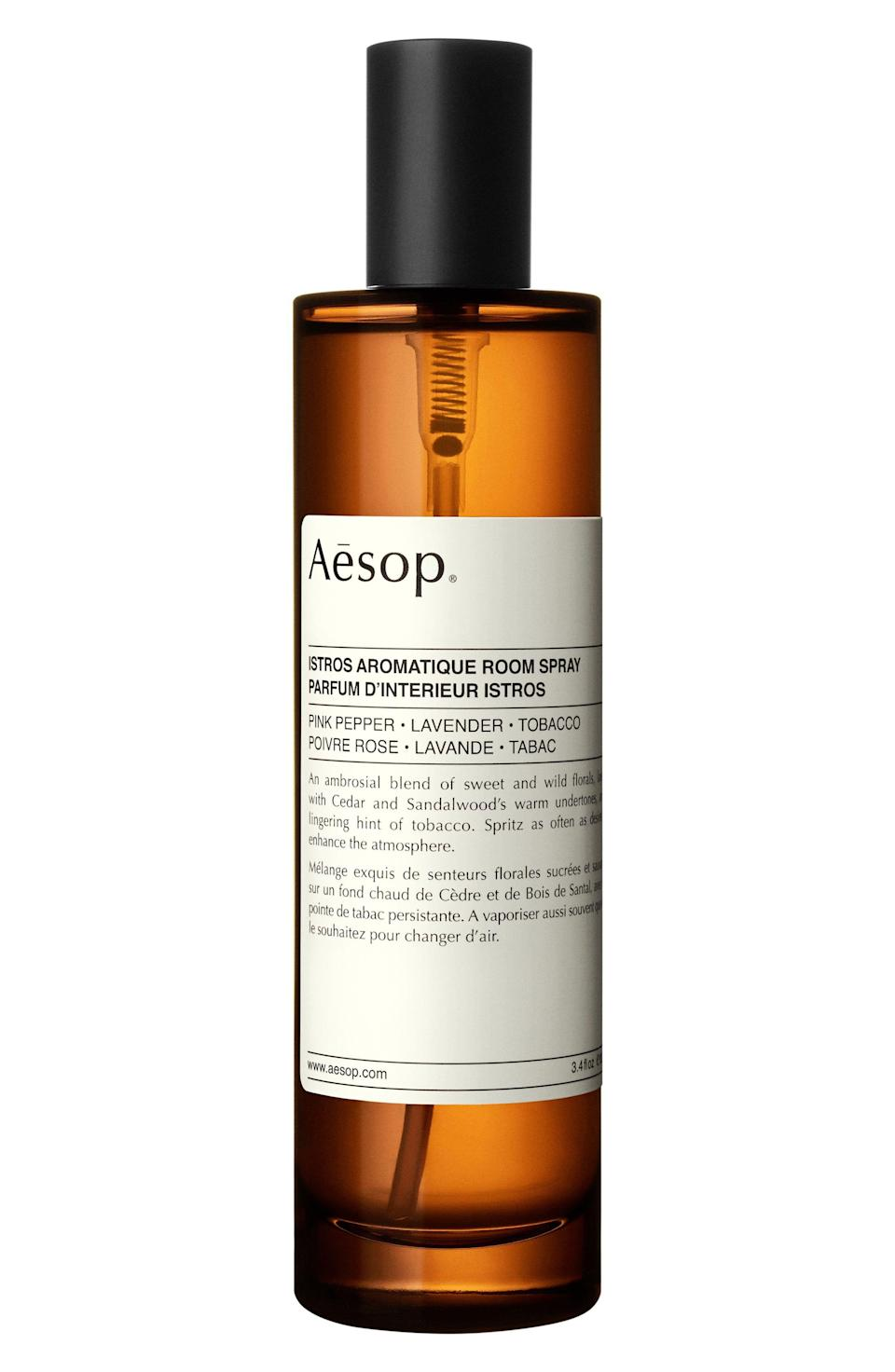 """<p><strong>AESOP</strong></p><p>nordstrom.com</p><p><strong>$55.00</strong></p><p><a href=""""https://go.redirectingat.com?id=74968X1596630&url=https%3A%2F%2Fshop.nordstrom.com%2Fs%2Faesop-aromatique-room-spray%2F4617743&sref=https%3A%2F%2Fwww.menshealth.com%2Ftechnology-gear%2Fg35237975%2Flong-distance-relationship-gifts%2F"""" rel=""""nofollow noopener"""" target=""""_blank"""" data-ylk=""""slk:BUY IT HERE"""" class=""""link rapid-noclick-resp"""">BUY IT HERE</a></p><p>You might not be sharing the same home but that doesn't mean you can't find some similarities. Gift them (and yourself) the same glorious room spray. When one of you visits the other, you'll already feel at home. </p>"""