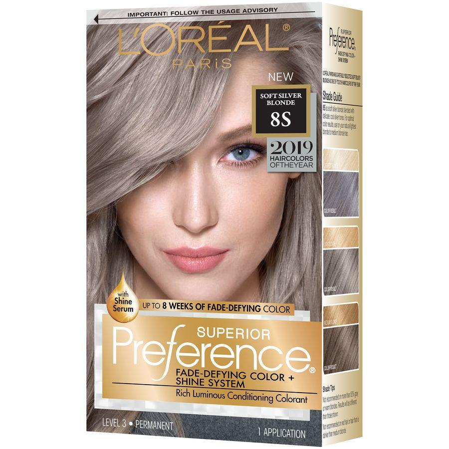 """<p><strong>L'Oréal Paris</strong></p><p>walmart.com</p><p><strong>$18.74</strong></p><p><a href=""""https://go.redirectingat.com?id=74968X1596630&url=https%3A%2F%2Fwww.walmart.com%2Fip%2F311273644&sref=https%3A%2F%2Fwww.goodhousekeeping.com%2Fbeauty-products%2Fg34385618%2Fbest-gray-hair-dye%2F"""" rel=""""nofollow noopener"""" target=""""_blank"""" data-ylk=""""slk:Shop Now"""" class=""""link rapid-noclick-resp"""">Shop Now</a></p><p>L'oréal Paris Superior Preference has previously tested well in our at-home hair studies for traditional shades, so we're confident that their silvery blonde shade will hold up to the test. This color is perfect for anyone who's on the fence about going full gray — it falls right between ashy blonde and gray, so you can try a cooler tone out for size.</p>"""