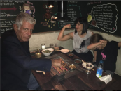 """<p>Bourdain and Ottavia had a child — his first and only — in 2007. After the birth of Ariane, now 11, Bourdain decided to live more cautiously, at least compared to his old daredevil ways. He told <a href=""""https://people.com/food/anthony-bourdain-responsibility-to-live-for-daughter-people-interview/"""" rel=""""nofollow noopener"""" target=""""_blank"""" data-ylk=""""slk:PEOPLE"""" class=""""link rapid-noclick-resp"""">PEOPLE</a>, """"In retrospect, I don't know that I would do that today — now that I'm a dad or reasonably happy,"""" when talking about jumping off cliffs into water for The Travel Channel.</p>"""