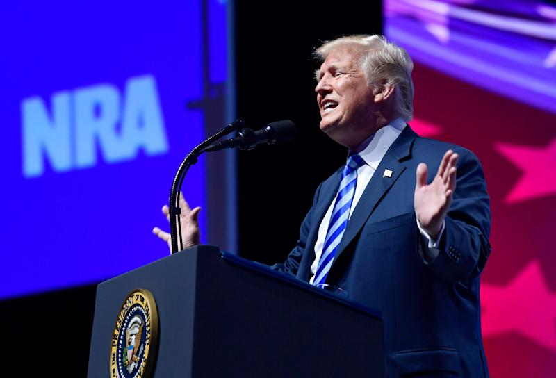 President Trump speaks at the National Rifle Association's annual convention in Dallas, May 4, 2018. (Photo: Susan Walsh/AP)