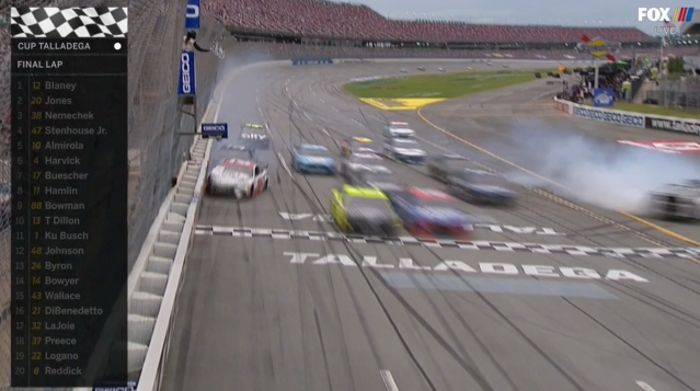 This is how it looked as Ryan Blaney won. (via Fox)