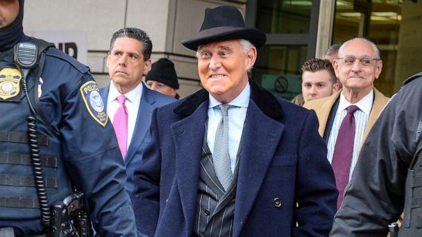PHOTO: In this Feb. 20, 2020, file photo, former Trump campaign adviser Roger Stone departs following his sentencing hearing at U.S. District Court in Washington, D.C. (Mary F. Calvert/Reuters, FILE)