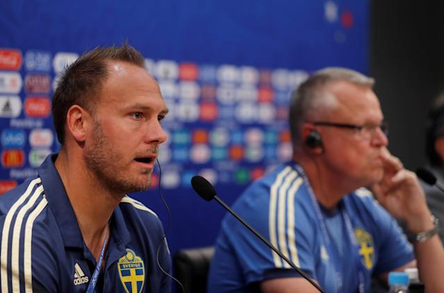 Soccer Football - World Cup - Sweden Press Conference - Nizhny Novgorod Stadium, Nizhny Novgorod, Russia - June 17, 2018 Sweden coach Janne Andersson and Andreas Granqvist during the press conference REUTERS/Carlos Barria