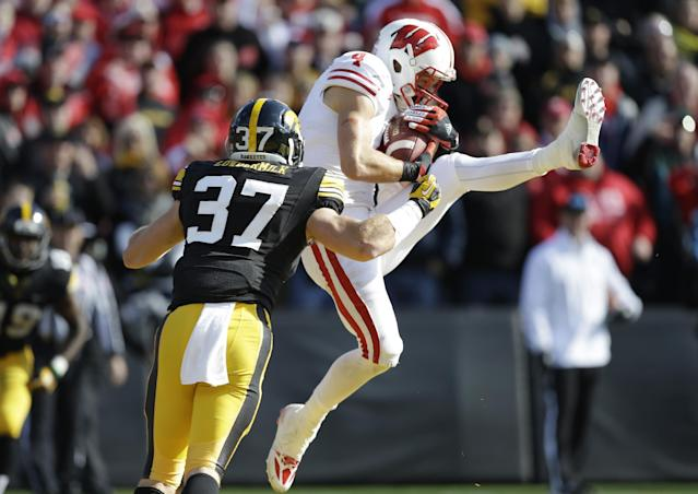 Wisconsin wide receiver Jared Abbrederis catches a 20-yard touchdown pass in front of Iowa defensive back John Lowdermilk (37) during the second half of an NCAA college football game, Saturday, Nov. 2, 2013, in Iowa City, Iowa. Wisconsin won 28-9. (AP Photo/Charlie Neibergall)