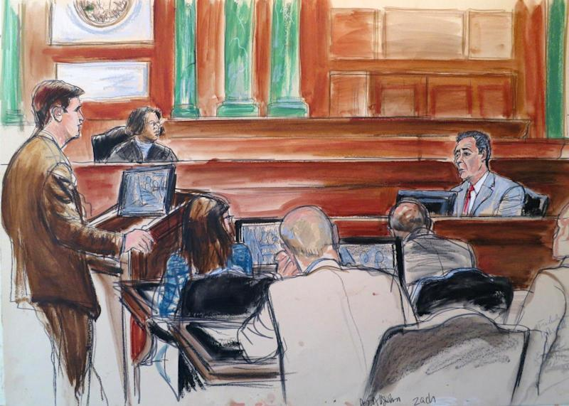 In this courtroom drawing, Frank DiPascali, right, a longtime employee of Bernard Madoff, takes the stand in Manhattan Federal Court where DiPascali, who is out on bail but facing substantial prison time, is on trial in New York in connection with Madoff's $17 billion Ponzi scheme. His testimony represents a turnabout for DiPascali, who kept Madoff's secrets for decades until he agreed to cooperate with the FBI in early 2009 following Madoff's arrest in 2008. From left are Assistant United States Attorney John Zach, standing at podium, with Judge Laura Taylor Swain seated. Members of the prosecution team sit facing the judge. (AP Photo/Elizabeth Williams)