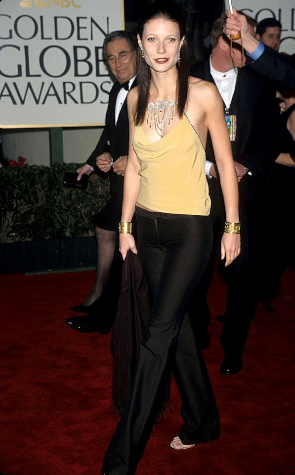 """<p class=""""MsoNormal"""">The actress turned heads when she turned herself into a brunette for the 1999 drama """"Bounce"""" (which co-starred her on-again/off-again beau Ben Affleck). She also created some buzz when she showed up at the 2000 Golden Globes wearing pants. But if anyone could make the casual look seem edgy and elegant all it once, it's Gwyneth! (1/23/2000)</p>"""
