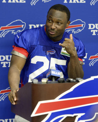 Buffalo Bills running back LeSean McCoy (25) speaks to the media after an NFL football team minicamp practice in Orchard Park, N.Y., Tuesday, June 12, 2018. (AP Photo/Adrian Kraus)