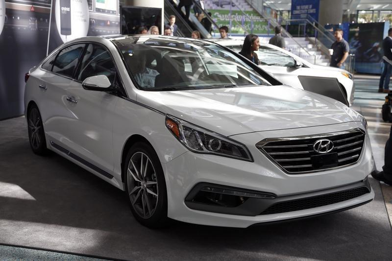A 2015 Hyundai Sonata 2.0T is seen during preparations for the 2014 LA Auto Show in Los Angeles