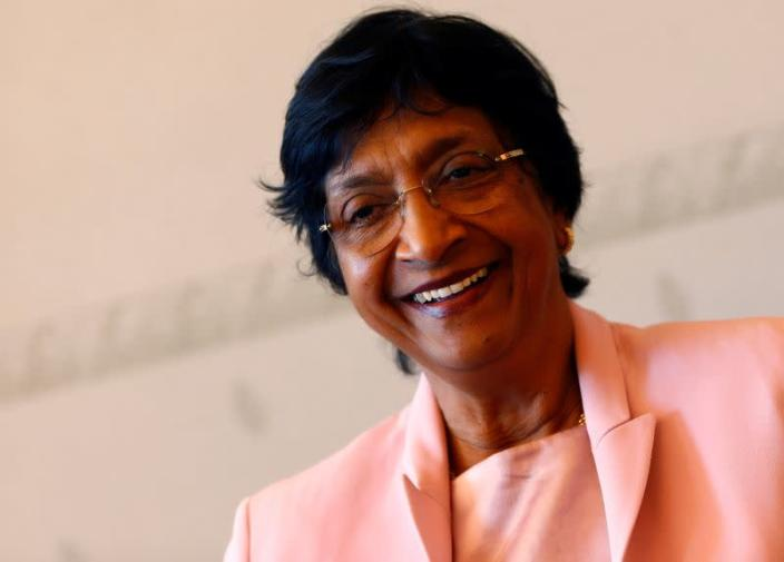 FILE PHOTO: Outgoing U.N. Human Rights Commissioner Navi Pillay talks during an interview to Reuters in her office in Geneva
