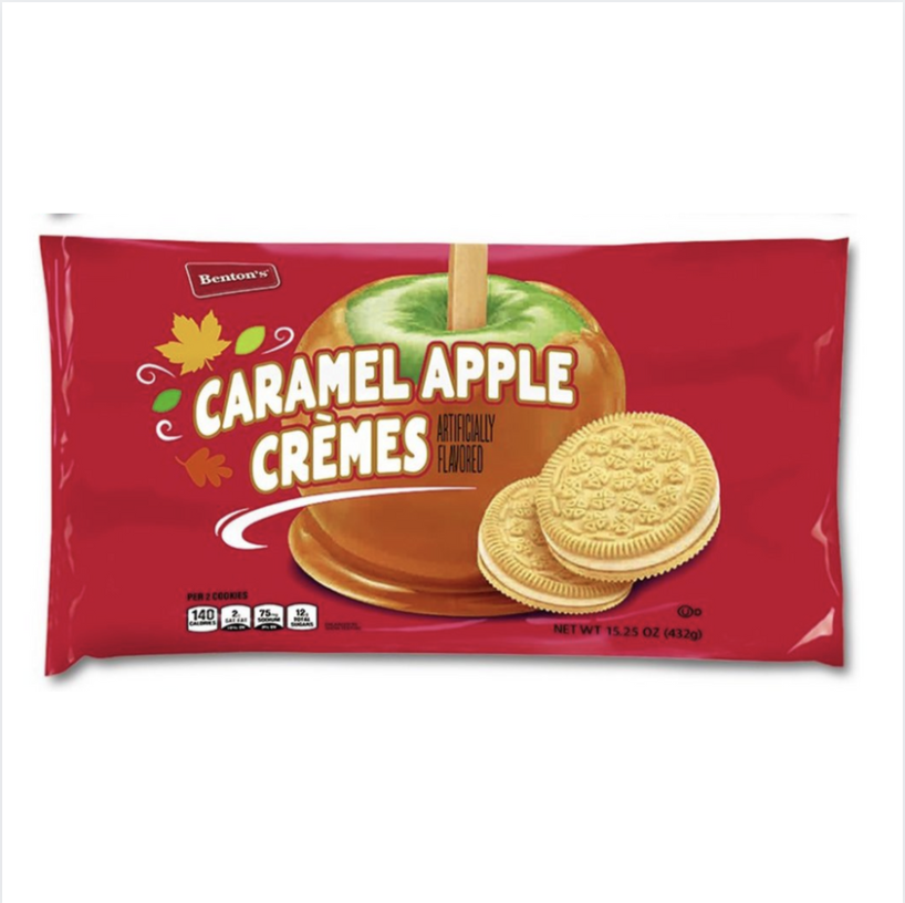 <p>Consider these caramel apple crème cookies a must-have this fall. The seasonal Aldi product is a similar take on golden Oreos, with two crispy cookies on the outside and a creamy layer of caramel apple-flavored filling on the inside. They're set to hit shelves in early September, so mark your calendars now!</p>