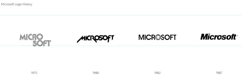 This undated image provided by Microsoft shows a graphic of the evolution of the company's logo from 1975 to 1987. Microsoft revealed a new corporate logo, Thursday, Aug. 23, 2012, the first revamp since February 1987. (AP Photo/Microsoft)