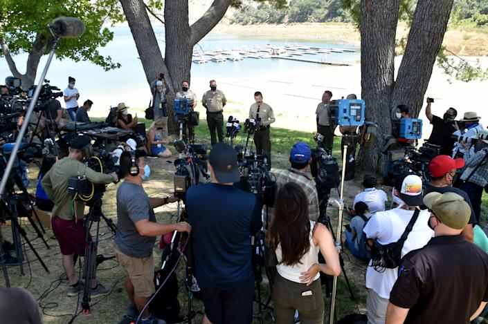 "Ventura County Sheriff Bill Ayub leads a press conference on Monday at Lake Piru. Ayub confirmed the body found on the morning of the sixth day was that of ""Glee"" actress Naya Rivera."