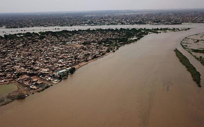 An aerial view shows flooding of the Nile in Khartoum, Sudan - Tayeb Siddig/Reuters