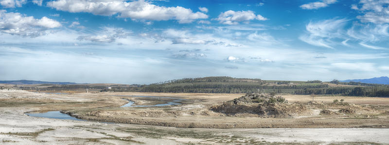 Cape Town is experiencing severe drought the main dam at Theewaterskloof is only at 10% capacity, on April 03, 2018 in Cape Town, South Africa. Diminishing water supplies may lead to the taps being turned off for the four millions inhabitants of Cape Town on April 12 2018, known locally as Day Zero. Water will be restricted from 87 litres per day to 50 litres as temperatures reach 28 degrees later this week. Politicians are blaming each other and residents for the deepening crisis.