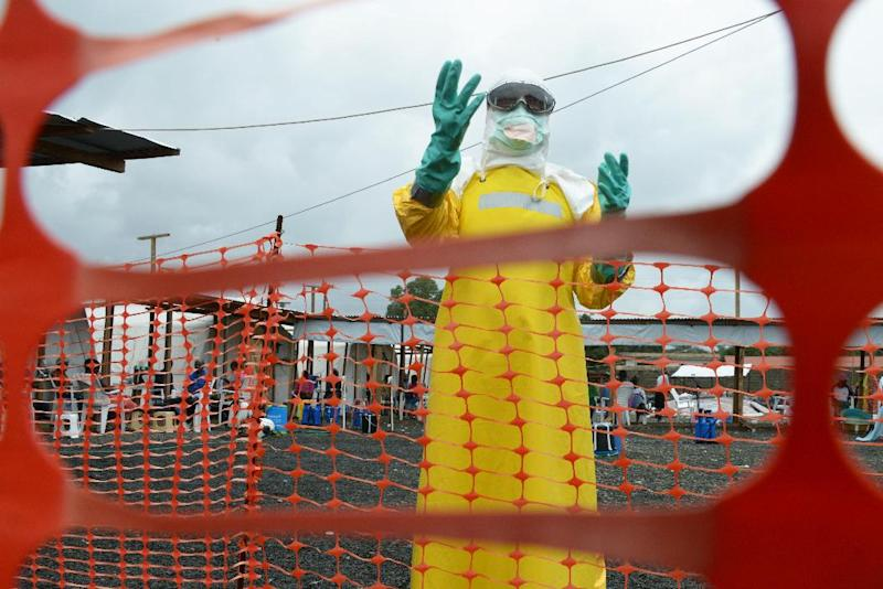 A health worker, wearing Personal Protective Equipment, stands inside the high-risk area at Elwa hospital in Monrovia on September 7, 2014 (AFP Photo/Dominique Faget)