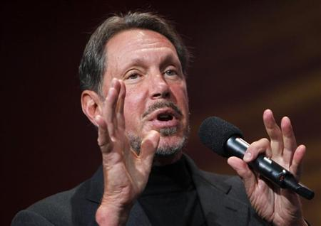 Oracle CEO Larry Ellison gestures during his keynote address at Oracle Open World in San Francisco