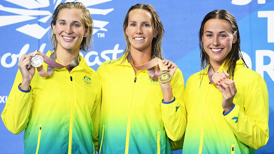 Maddie Groves, pictured here with Emma McKeon and Brianna Throssell at the 2018 Commonwealth Games.