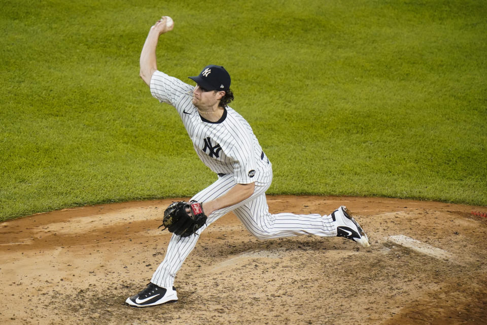 New York Yankees' Gerrit Cole delivers a pitch during the seventh inning of a baseball game against the Toronto Blue Jays Wednesday, Sept. 16, 2020, in New York. (AP Photo/Frank Franklin II)