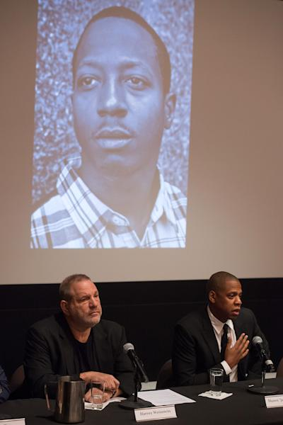 "Harvey Weinstein, left, and Shawn ""Jay Z"" Carter announce the Weinstein Television and Spike TV release of ""TIME: The Kalief Browder Story"" during a press conference at The Roxy Hotel Cinema on Thursday, Oct. 6, 2016, in New York. (Photo by Charles Sykes/Invision/AP)"
