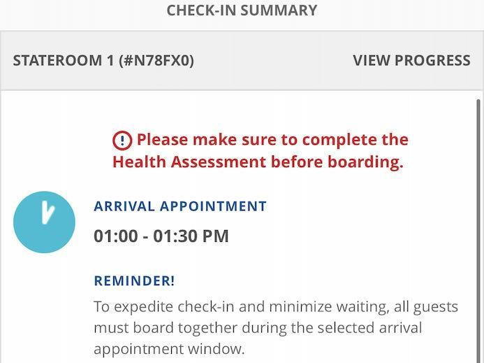 A screenshot of the notification that I hadn't filled out the health assessment form yet.