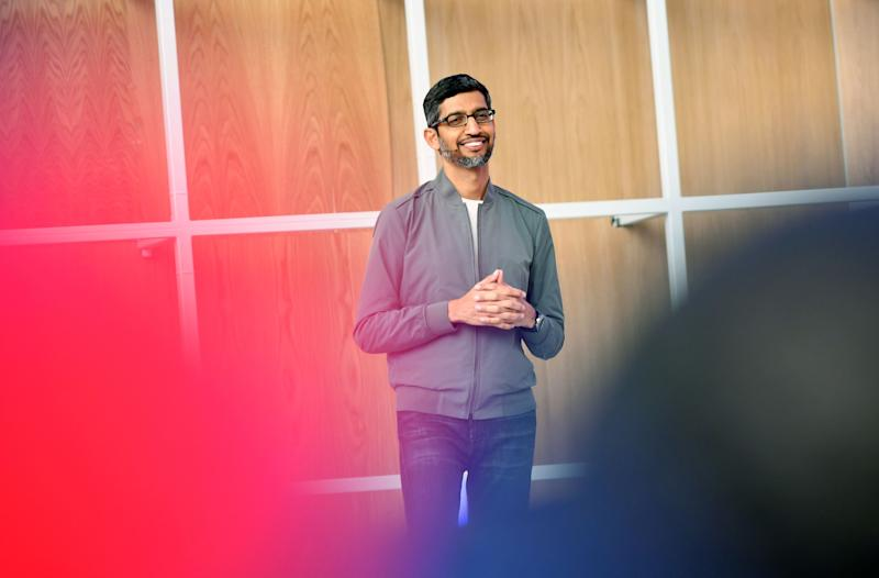 Google CEO Sundar Pichai speaks during the Google I/O 2019 keynote session at Shoreline Amphitheatre in Mountain View, California on May 7, 2019. (Photo by Josh Edelson / AFP) (Photo by JOSH EDELSON/AFP via Getty Images)