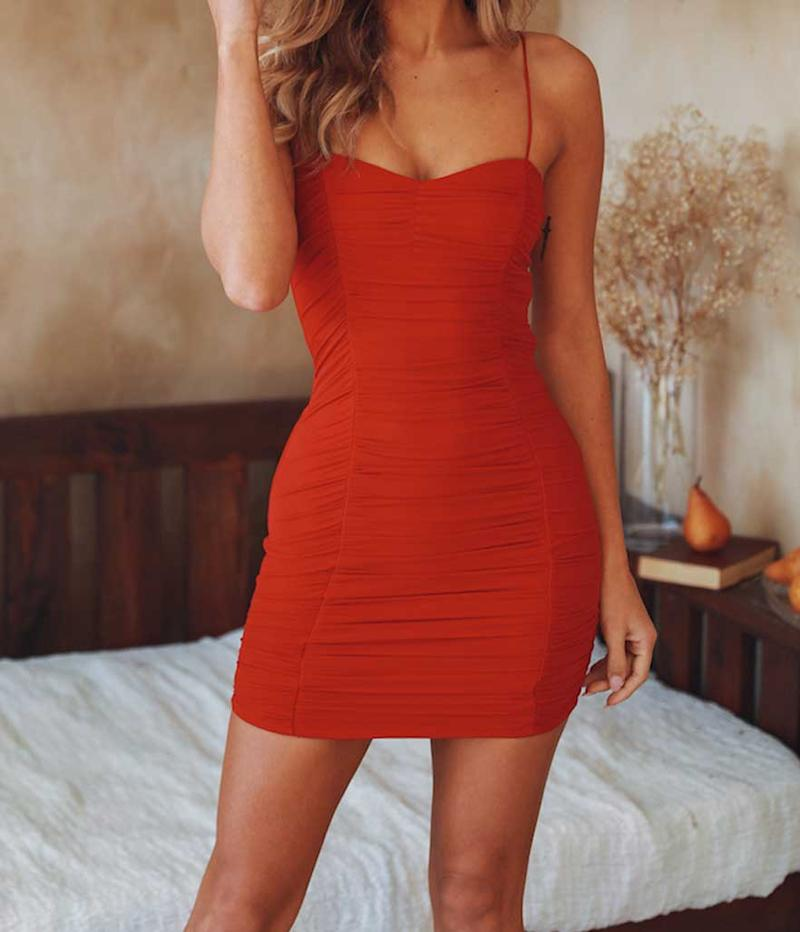 Red skinny strap dress. (Photo: Hello Molly)