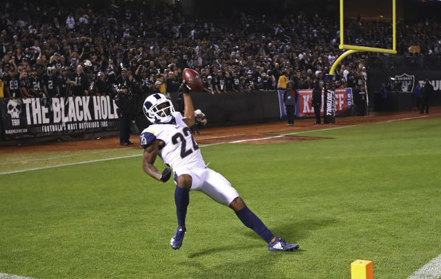 Los Angeles Rams cornerback Marcus Peters celebrates in the end zone after making a 50-yard interception for a touchdown during the second half of an NFL football game against the Oakland Raiders in Oakland, Calif., Monday, Sept. 10, 2018. Los Angeles won the game 33-13. (AP Photo/Ben Margot)