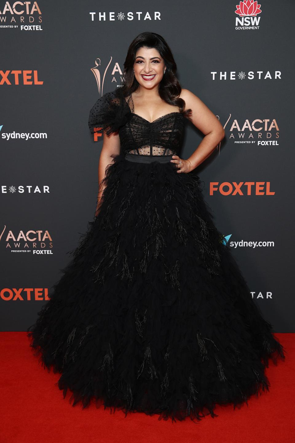Susie Youssef arrives ahead of the 2020 AACTA Awards presented by Foxtel at The Star on November 30, 2020 in Sydney, Australia.