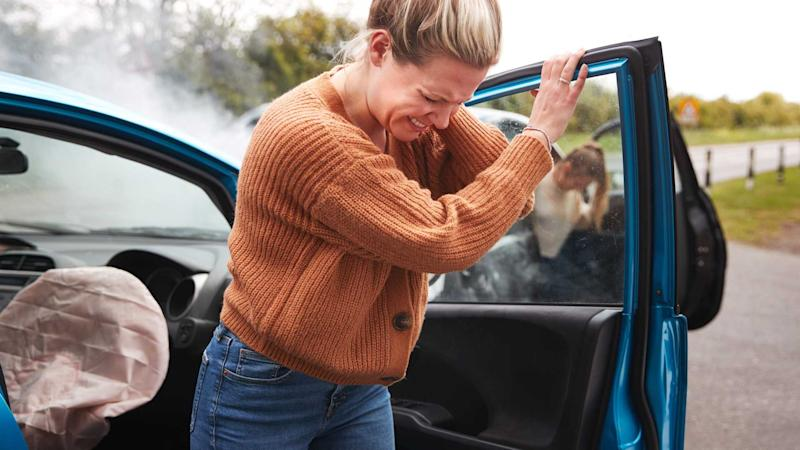 Woman in accidernt for insurance fraud getting out of car