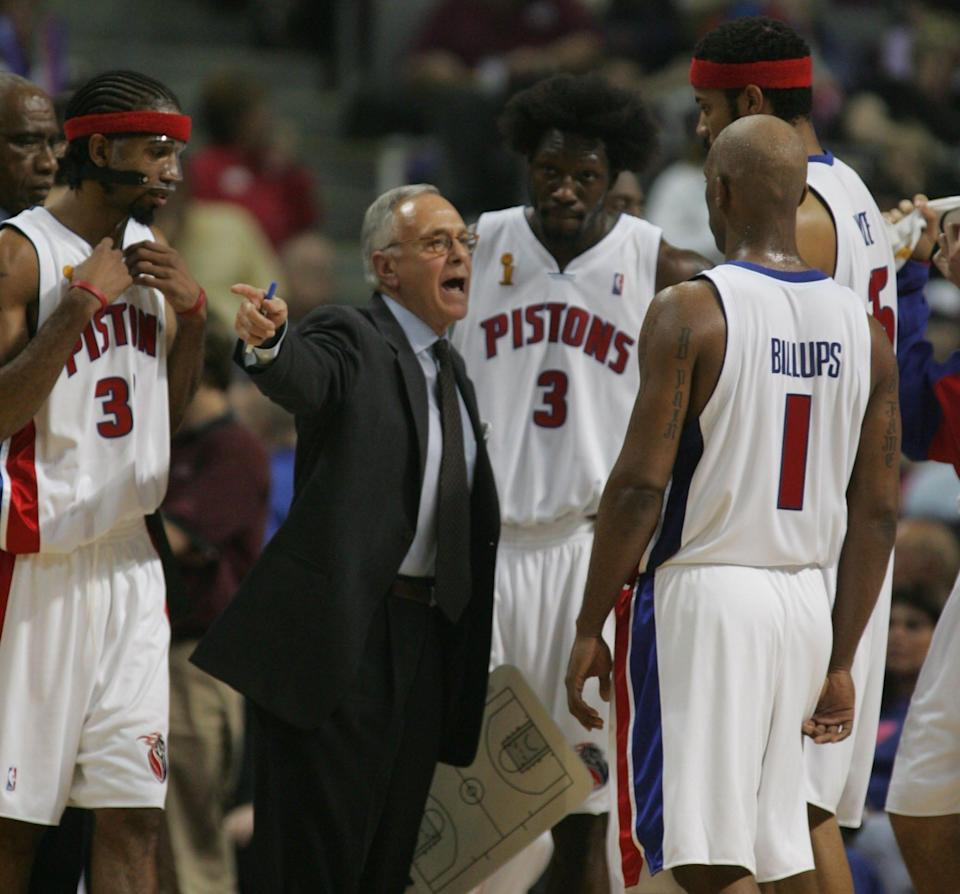 Coach Larry Brown talks to his team during Game 3 of the NBA Finals vs. San Antonio, June 14, 2005 at the Palace.