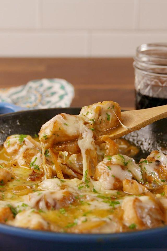 """<p>Unbelievably addicting.</p><p>Get the recipe from <a href=""""https://www.delish.com/cooking/recipe-ideas/recipes/a58148/french-onion-chicken-recipe/"""" rel=""""nofollow noopener"""" target=""""_blank"""" data-ylk=""""slk:Delish"""" class=""""link rapid-noclick-resp"""">Delish</a>.</p><p><strong><a href=""""https://www.amazon.com/Creuset-Signature-Handle-Skillet-Marseille/dp/B009WQWWZ4/"""" rel=""""nofollow noopener"""" target=""""_blank"""" data-ylk=""""slk:BUY NOW"""" class=""""link rapid-noclick-resp"""">BUY NOW</a><em> Le Creuset Cast Iron Skillet, $170, amazon.com</em></strong></p>"""