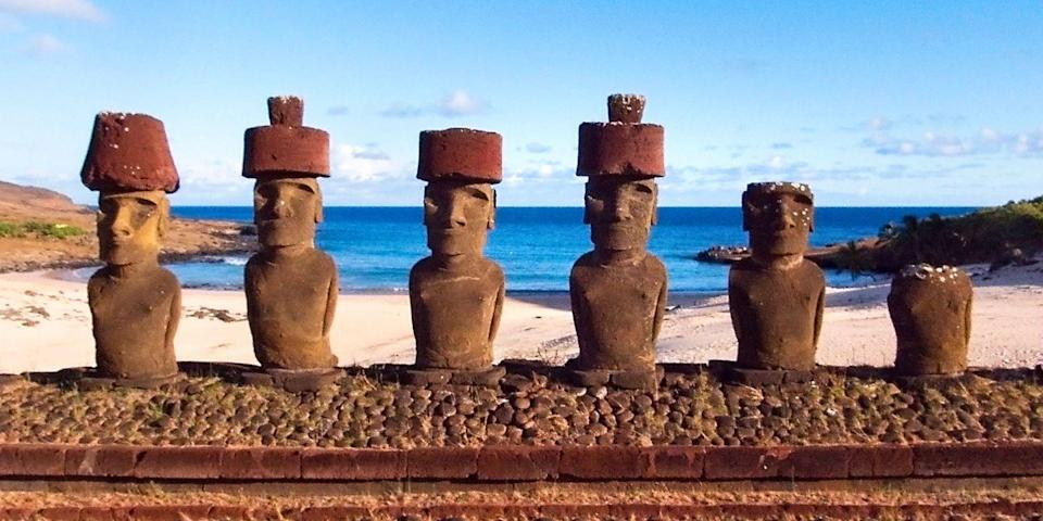 """<p><a href=""""https://www.tripadvisor.com/Attraction_Review-g316040-d1382436-Reviews-Anakena_Beach-Easter_Island.html"""" rel=""""nofollow noopener"""" target=""""_blank"""" data-ylk=""""slk:Anakena"""" class=""""link rapid-noclick-resp"""">Anakena</a> is the best beach on Easter Island, the mysterious Chilean outpost that's home to <em>moai</em>, the ancient large-headed figures carved by the indigenous Rapa Nui people. Anakena not only has a beautiful crescent-shaped beach with fine coral sand and calm waters, but two <em>moai</em> as well.</p><p><a class=""""link rapid-noclick-resp"""" href=""""https://go.redirectingat.com?id=74968X1596630&url=https%3A%2F%2Fwww.tripadvisor.com%2FHotel_Review-g316040-d1114562-Reviews-Explora_Rapa_Nui_All_Inclusive-Easter_Island.html&sref=https%3A%2F%2Fwww.redbookmag.com%2Flife%2Fg34756735%2Fbest-beaches-for-vacations%2F"""" rel=""""nofollow noopener"""" target=""""_blank"""" data-ylk=""""slk:BOOK NOW"""">BOOK NOW</a> Explora Rapa Nui</p><p><a class=""""link rapid-noclick-resp"""" href=""""https://go.redirectingat.com?id=74968X1596630&url=https%3A%2F%2Fwww.tripadvisor.com%2FHotel_Review-g1049073-d320591-Reviews-Hotel_Hangaroa_Eco_Village_Spa-Hanga_Roa_Easter_Island.html&sref=https%3A%2F%2Fwww.redbookmag.com%2Flife%2Fg34756735%2Fbest-beaches-for-vacations%2F"""" rel=""""nofollow noopener"""" target=""""_blank"""" data-ylk=""""slk:BOOK NOW"""">BOOK NOW</a> Hotel Hangaroa Eco Village & Spa</p>"""