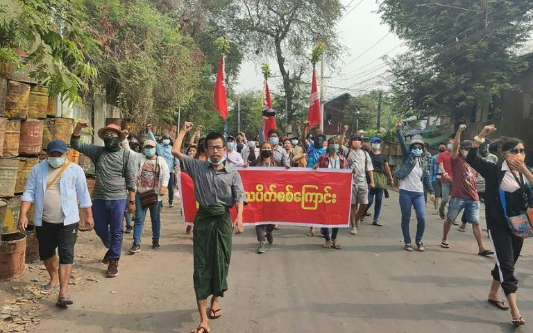 Protesters march against the junta in Mandalay
