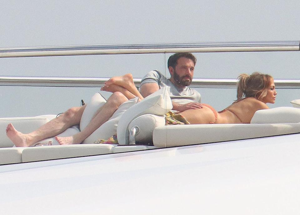 Monaco, MONACO  - *PREMIUM-EXCLUSIVE*  - Jennifer Lopez and Ben Affleck brought their PDA to St Tropez! The couple couldn't keep their hands off of each other during a steamy PDA session while soaking up the sun aboard a yacht.  Pictured: Ben Affleck, Jennifer Lopez  BACKGRID USA 25 JULY 2021   USA: +1 310 798 9111 / usasales@backgrid.com  UK: +44 208 344 2007 / uksales@backgrid.com  *UK Clients - Pictures Containing Children Please Pixelate Face Prior To Publication*