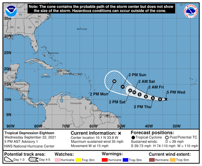 Tropical Depression 18 has formed in the Atlantic, and it's set to become Catgeory 3 Hurricane Sam this week.